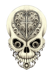 Art Vintage Heart and Cross mix Skull Tattoo. Hand pencil drawing on paper.