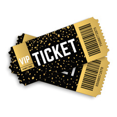 Two, pair golden vector vip tickets. Realistic 3d design with gold confetti on white background. Concert, cinema, movie, party, event, dance, festival premium collection.