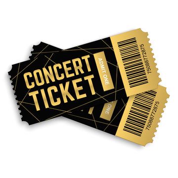 Two, couple vector golden concert ticket isolated on white background. Luxury realistic 3d design template. Icon picture for website.