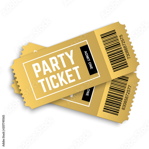 Two, couple vector golden party tickets isolated on white background ...