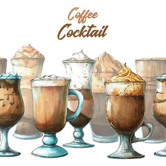 Background with different cocktails. Sketch of coffee cocktail.