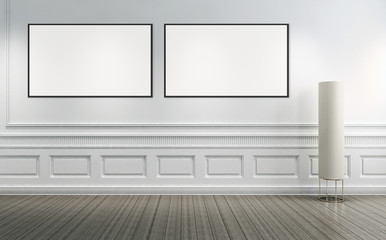 Modern bright interiors empty room with mockup poster frame 3D rendering illustration