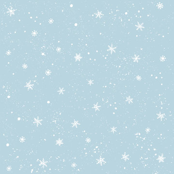 Seamless pattern with snow and snowflakes. Christmas and New Year background.