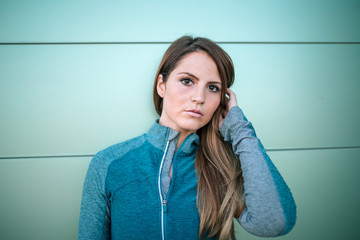 portrait of young woman with sports clothes