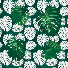 Seamless monstera palm leaves pattern for your summer background. Vector tropical exotic illustration