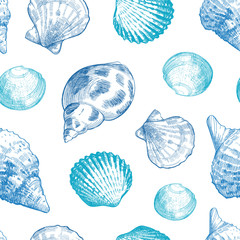 Seashells seamless pattern for your ocean life design. Elegant sea shells background. Summer template collection vector illustaration