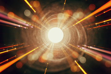 Abstract lens flare. concept image of space or time travel background over dark colors and bright lights Fototapete