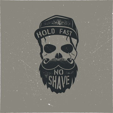 Skull character with blood stains, cap. Vintage hand drawn street style. Urban city attributes. No shave sign. Monochrome style. Hipster skull icon. Stock isolated on white background