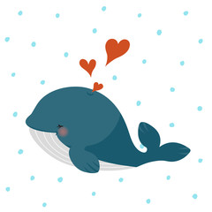 Cute blue whale with hearts on blue dots pattern