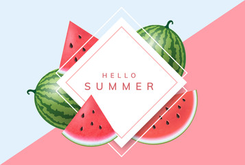 Summer frame with realistic watermelon whole fruit and slice. Vector illustration with geometric frame for summer and fruits