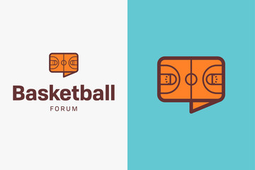 Basketball court logo. Editable vector logo design.