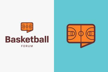 Basketball court logo. Editable vector logo design.