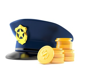 Police hat with stack of coins