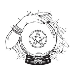 Door stickers Halloween Hand drawn magic crystal ball with pentagram star in hands of fortune teller line art and dot work. Boho chic tattoo, poster or altar veil print design vector illustration.
