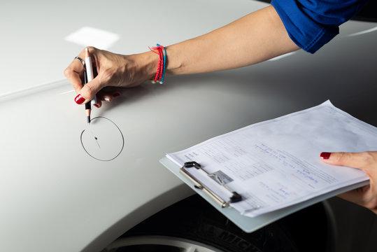 Auto body repair series: Circling scratch on car fender