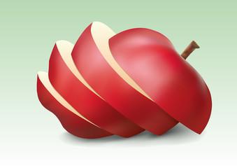pomme - fruit - rouge - tranche - couper - trancher - santé - vitamine - diète - régime - bio - alimentation