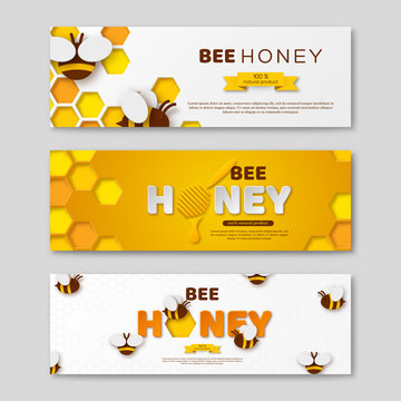 Bee honey horizontal banners with paper cut style letters, comb and bees, vector illustration.