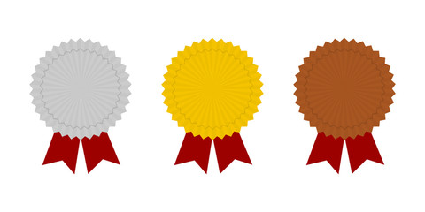 Medal icons. Gold, Silver and Bronze medal icons. Champion medals