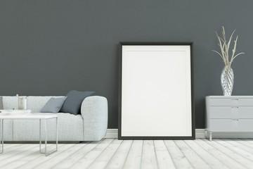 White sofa in modern scandinavian design with grey wall