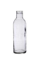 empty glass bottle with a thick neck, isolated on a white background