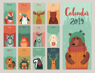 Wall Mural - Calendar 2019. Cute monthly calendar with forest animals. Hand drawn style characters.