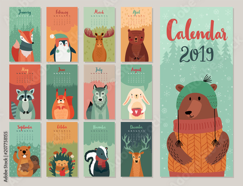 Wall mural Calendar 2019. Cute monthly calendar with forest animals. Hand drawn style characters.