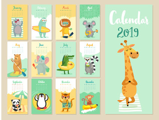 Calendar 2019. Cute monthly calendar with forest animals.