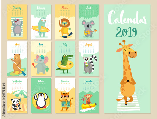 Wall mural Calendar 2019. Cute monthly calendar with forest animals.