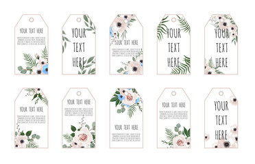 Price tags collection with flowers