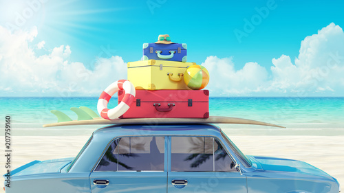 car with luggage ready for summer vacation 3d render 3d illustration. Black Bedroom Furniture Sets. Home Design Ideas