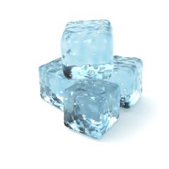 Ice Cubes Isolated on White Background.