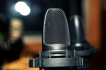 black microphone in the studio