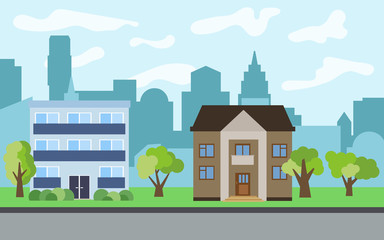 Vector city with two-story and three-story cartoon houses and green trees in the sunny day. Summer urban landscape. Street view with cityscape on a background