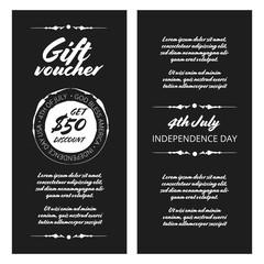 Gift voucher Independence day vintage design