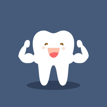 Single white and very strong muscle healthy tooth. Strong happy healthy white tooth character. Vector flat cartoon illustration icon design. Isolated on dark background.