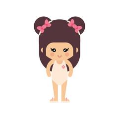cartoon summer girl in a swimsuit