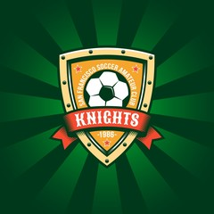 Football color logo template with a classic soccer ball, shield and ribbon.
