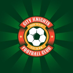 Round color football logo template with soccer ball and circular ribbon