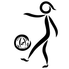 Man kicking the ball, logo with black lines