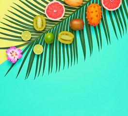 Tropical Palm Leaf, Fruits.Bright Summer Set.Vegan