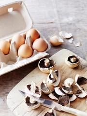 Mushrooms, eggs