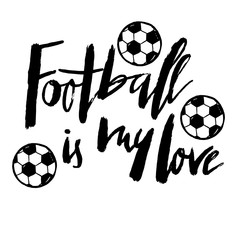 Football hand drawn lettering for a football cup, soccer championship