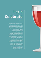 Lets Celebrate Advertisement Poster with Glass of Wine
