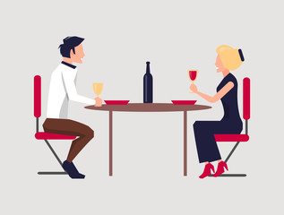 Couple Dining Together on Vector Illustration