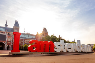 The sign i amsterdam in front of rijksmuseum in Amsterdam on sunrise