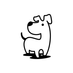 Simple Line Art Outline Dog Logo Silhouette Icon Vector