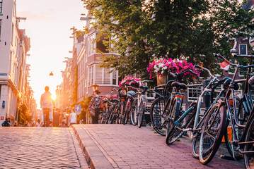 Printed kitchen splashbacks Amsterdam sunset on the streets and canals of Amsterdam