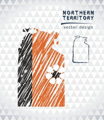 Map of Northern Territory with hand drawn sketch pen map inside. Vector illustration