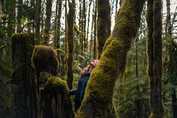 Woman looking up mossy tree in forest, Squamish, Canada