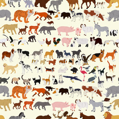 Seamless vector background on a wildlife theme